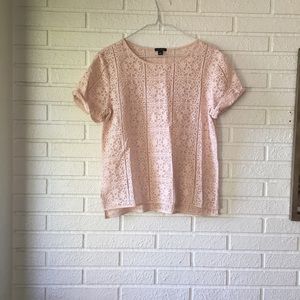 Ann Taylor blush pink lace shirt, size medium
